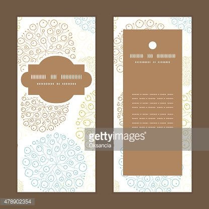 Vector blue brown abstract seaweed texture vertical frame pattern invitation