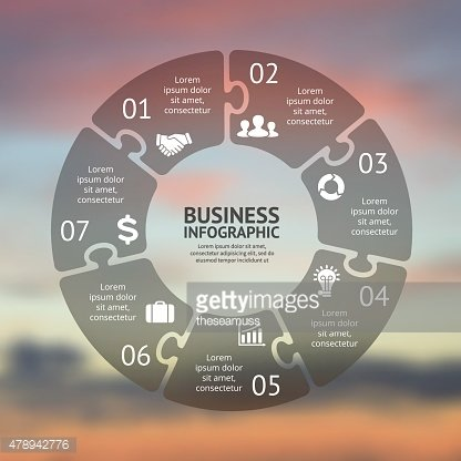 Circle puzzle infographic. Template for cycle diagram, graph, presentation and