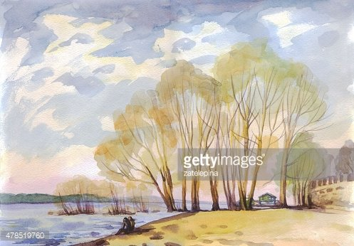 Spring landscape with trees by the river. Painting. Watercolor