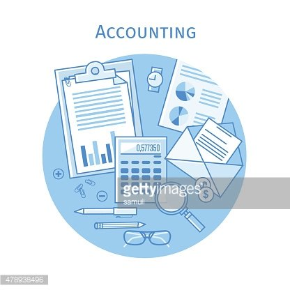 Flat linear vector icons design concepts accounting, taxes, business finance.