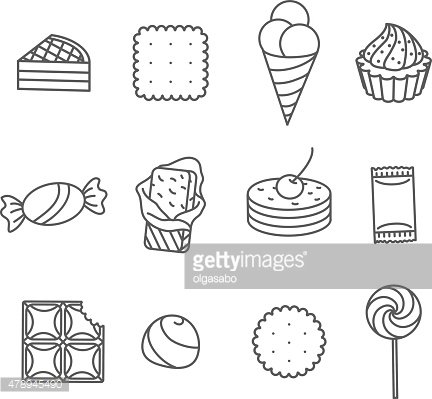 Sweets and confectionery. Set of Outline Icons.