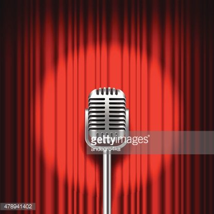 Red curtain and stage with microphone vector