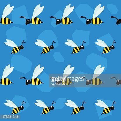 Funny bee. Cartoon bright colored graphic abstract seamless pattern illustration