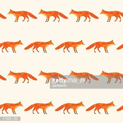 Polygonal abstract fox isolated on cover. Seamless pattern geometric background