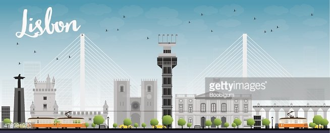 Lisbon city skyline with grey buildings and blue sky