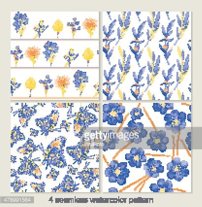 Set of vector seamless patterns. Watercolor iris, leaves, butter