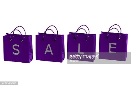 Purple shopping bags with word sale
