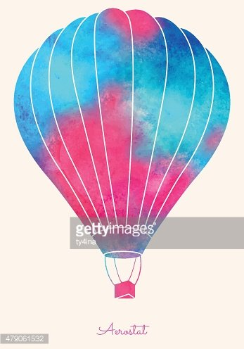 Watercolor vintage hot air balloon