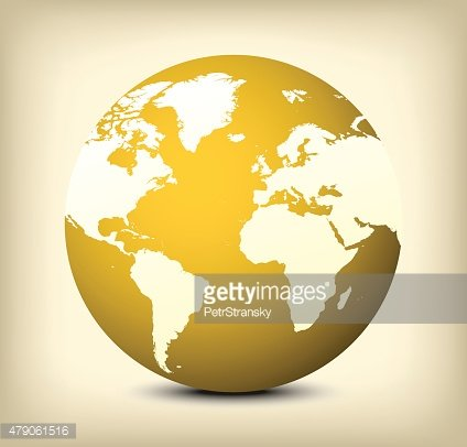 vector gold globe icon on yellow background