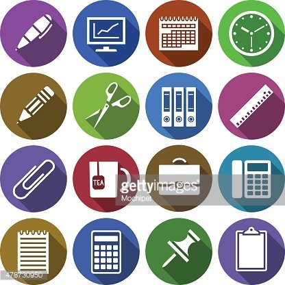 Icon with office supplies in flat design
