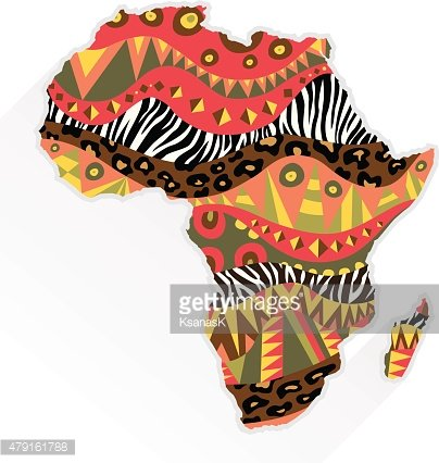 Africa Continent Ornate With Ethnic Pattern