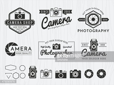 Set of vintage badge logo camera and photography design,
