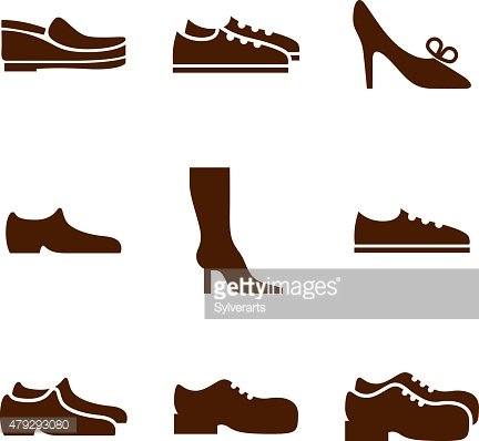 Footwear icon set, vector collection of shoes pictograms. EPS8