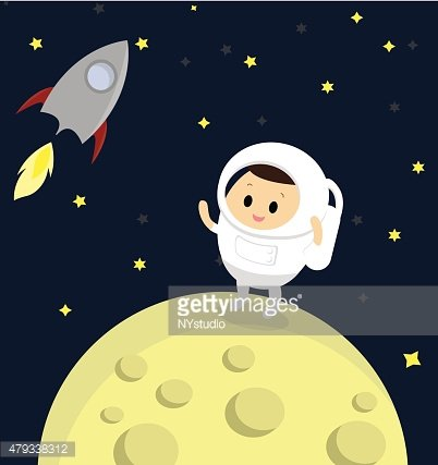 Vector of Astronaut standing on the moon with rocket