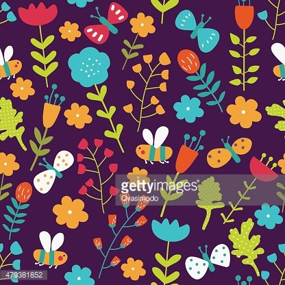 Seamless pattern in vector made of flowers, butterflies and bees