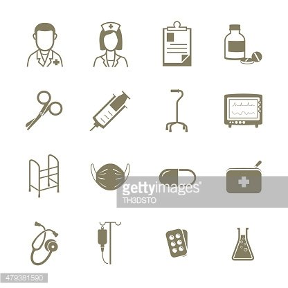 Hospital medical equipment icons, Vector sign symbol