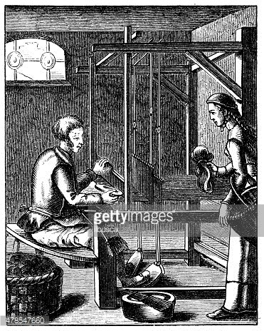 Antique illustration of machinery used in textile/tapestry industry