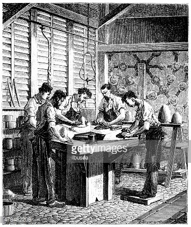 Antique illustration of hat production
