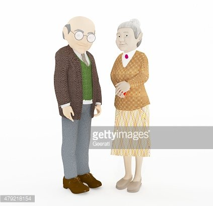 3D rendering old couple