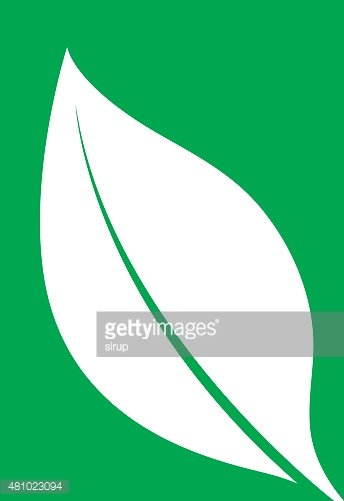 Logo of a white leaf silhouette on green
