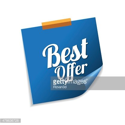 Best Offer Blue Sticky Notes Vector Icon Design