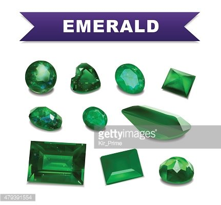 Emerald gemstones set