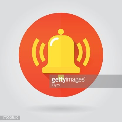 Notifications call icon with ringing bell on color round