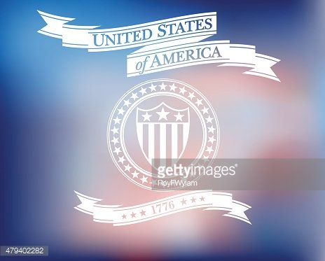 United States of America Scroll with Shield and Stars Background
