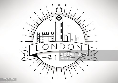 Linear London Skyline Vector Icon Design