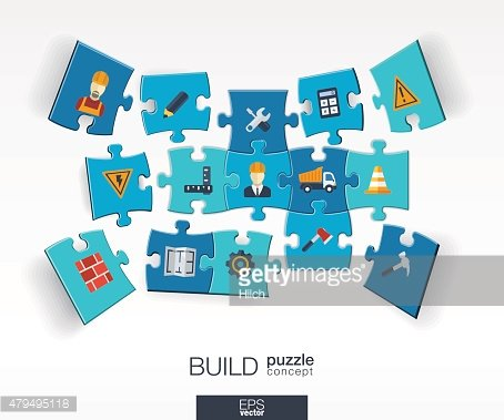 Abstract construction background with connected color puzzles, integrated flat icons.