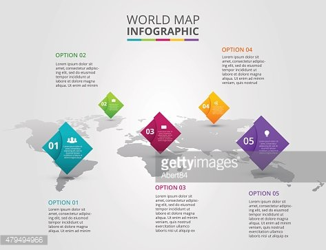 Vector world map with infographic elements.