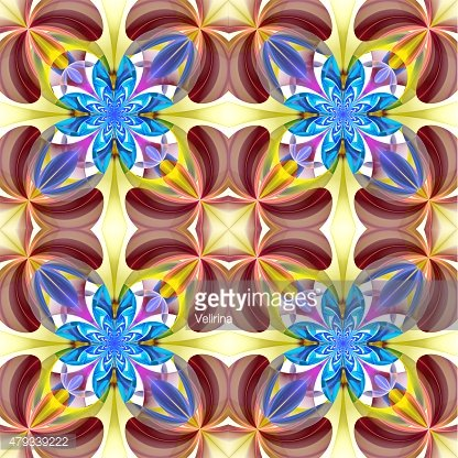 Symmetrical pattern of the flower petals. Blue and brown palette