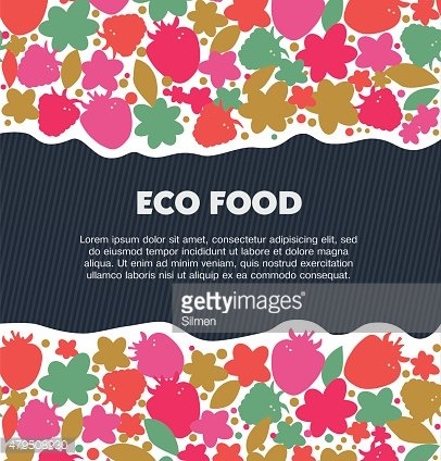 Eco food background with berries, flowers, leaves
