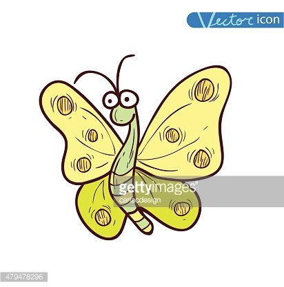Butterfly hand drawn vector illustration.