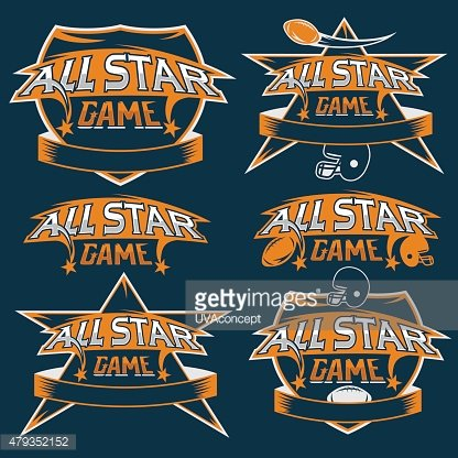 vintage sports all star crests with american football theme