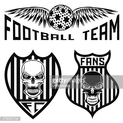 football team crests set with wings and skulls
