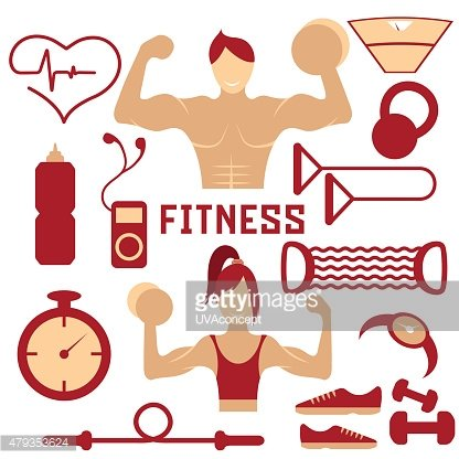 flat design of fitness with guy ,girl and web icons
