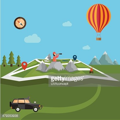 explorer with spyglass and balloon on map with adventure elements