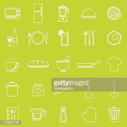 Kitchen line icons on green background