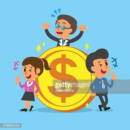 Business concept business team with a big coin