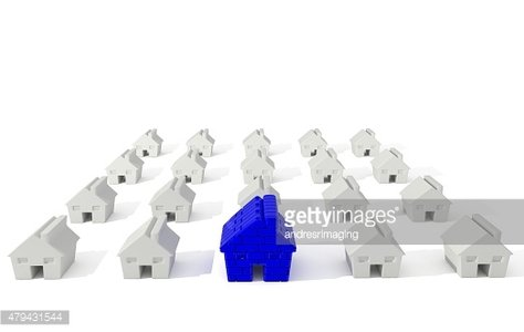 3D Houses isolated over white background.