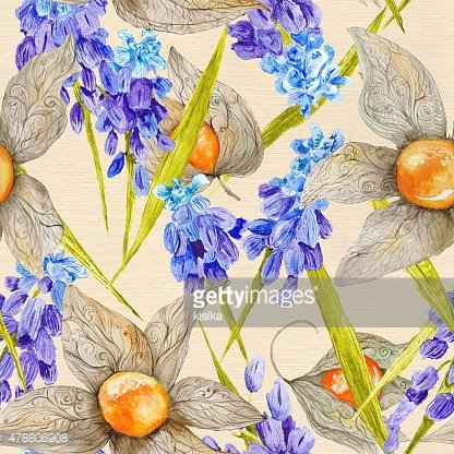 Provence Watercolor Pattern with Muskari and Physalis