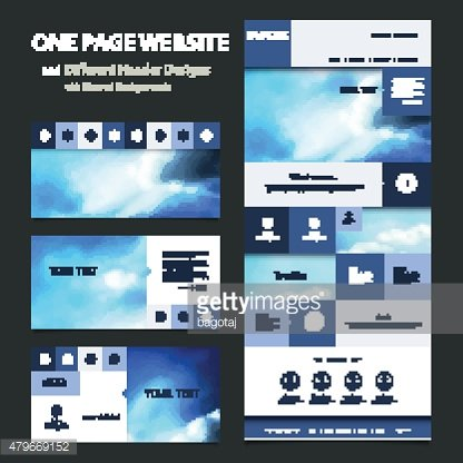 One Page Website Template, Different Header Designs with Blurred Backgrounds