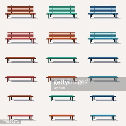 Set of different types benches