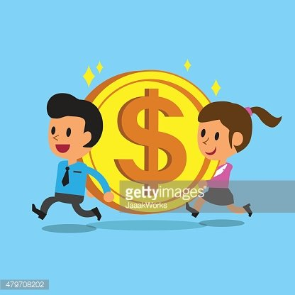 Businessman and businesswoman carrying big coin