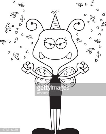 Cartoon Angry Party Butterfly