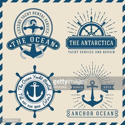 Nautical, Navigational, Seafaring and Marine label logo vintage design
