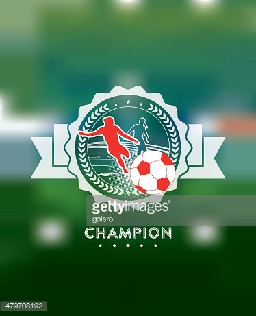 woman soccer champions icon on blurred background
