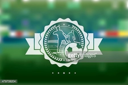 soccer line symbol on green blurred background