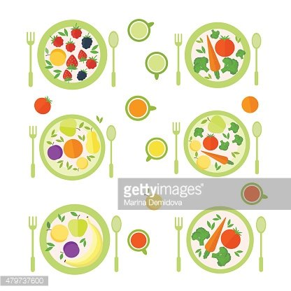 Plates with fruits, berries and vegetables isolated on white background